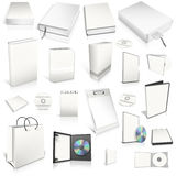 White 3d blank cover collection. Isolated on white Royalty Free Stock Image