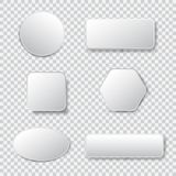 White 3d blank square and rounded button vector set. Button banner round, badge interface for application illustration on transparent background Royalty Free Stock Photos