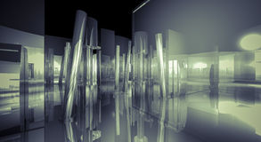 White, 3d business room, Hall  building with light and reflects. Stock Photos