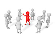 White 3d business team group with red leader boss Stock Images
