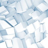 White 3d chaotic fragments, render. Abstract square digital background, chaotic fragments with blue shadows, 3d illustration Royalty Free Stock Photography