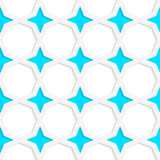 White 3D with colors blue stars. Abstract geometrical background. Pattern with cut out paper effect and realistic shadows Royalty Free Stock Image