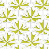 White 3D with colors green maple leaves Stock Photos