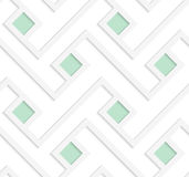 White 3D with colors green squares. Abstract geometrical background. Pattern with cut out paper effect and realistic shadows Stock Photos
