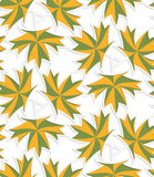 White 3D with colors green and yellow maple leaves Royalty Free Stock Image