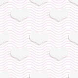 White 3D with colors hearts on pink waves. Abstract geometrical background. Pattern with cut out paper effect and realistic shadows royalty free illustration