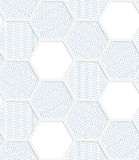 White 3D with colors hexagonal grid with blue Stock Images