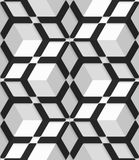 White 3d cubes with hexagonal net on seamless pattern Stock Image