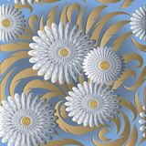 White 3d flowers vector seamless pattern. Light blue floral back Stock Photo