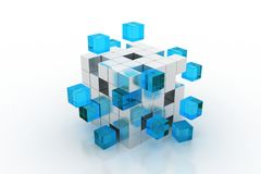 White 3d futuristic cube. White futuristic 3d cube abstraction with blue blocks Royalty Free Stock Photos