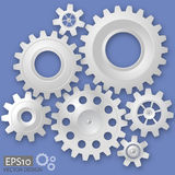 White 3d gears on the gray background. Infographic template. Vector design. eps10 vector illustration
