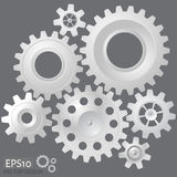 White 3d gears on the gray background. Infographic template. Vector design. eps10 royalty free illustration