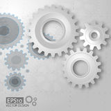 White 3d gears on the gray blueprint  background Stock Image