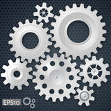 White 3d gears on the gray hexagon background. Infographic template. Cover template. Vector design. eps10 vector illustration