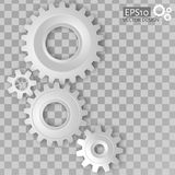 White 3d gears on the transparent gray background Stock Photography