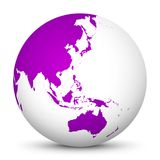 White 3D Globe Icon with Purple Continents. Focus on Australia,. White 3D Globe Icon with Purple Continents. Planet Earth! Focus on Australia, Japan, India stock illustration