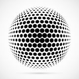 White 3D  halftone sphere.Dotted spherical background.Logo. Template with shadow.Circle dots isolated on the white background Royalty Free Stock Images