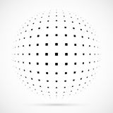 White 3D  halftone sphere.Dotted spherical background.Logo. Template with shadow.Circle dots isolated on the white background Stock Photos