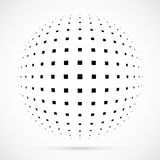 White 3D  halftone sphere.Dotted spherical background.Logo. Template with shadow.Circle dots isolated on the white background Royalty Free Stock Photo