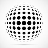 White 3D  halftone sphere.Dotted spherical background.Logo. Template with shadow.Circle dots isolated on the white background Royalty Free Stock Photos