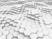 White 3D hexagon waves Stock Images