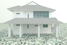White 3D house on the pile of money in  background Royalty Free Stock Photo