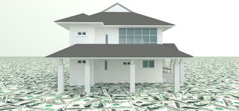White 3D house on the pile of money in  background Royalty Free Stock Photos