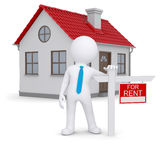 White 3d human and small house with sign a lease. Isolated render on a white background Stock Photos