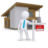 White 3d human and small house with sign a lease Royalty Free Stock Image