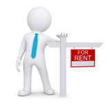 White 3d human and small house with sign a lease Royalty Free Stock Images
