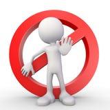 White 3d human - stop symbol Royalty Free Stock Image