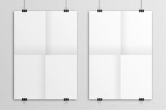 White 3D illustration poster mock-up with clips Stock Photo