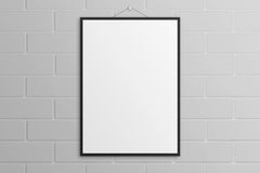 White 3D illustration poster mockup with black frame brick wall Royalty Free Stock Photography