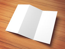 White 3d illustration tri fold paper mock-up template Royalty Free Stock Images