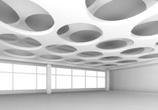 White 3d interior with round holes in ceiling. Empty white interior background with round holes pattern on ceiling, 3d illustration Royalty Free Stock Photo