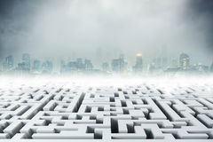 White 3D labyrinth and night city Royalty Free Stock Photos