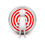 White 3d man behind target. business success. Concept 3d render illustration Royalty Free Stock Photography