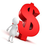 White 3d man with big dollar currency symbol Stock Photos