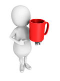 White 3d man with big red mug cup Royalty Free Stock Photos