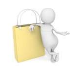 White 3d Man With Big Shopping Bag Royalty Free Stock Photography