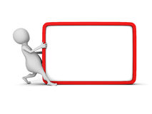 White 3d man with blank information board. 3d render illustration Royalty Free Stock Images