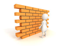 White 3d man with brick wall. 3d render illustration Stock Photo