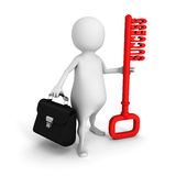 White 3d man with briefcase and red success key. 3d render illustration Royalty Free Stock Photography