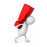 White 3d man carry big red exclamation mark Royalty Free Stock Photography
