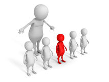 White 3d man choice red different person from crowd. 3d render illustration Stock Photos