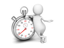 White 3d Man With Classic Silver Stopwatch Royalty Free Stock Photography