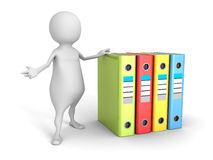 White 3d man with colorful office ring binders Stock Image