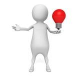 White 3d man with concept idea lightbulb Stock Images