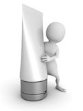 White 3d man with cosmetic tube Stock Image
