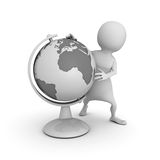 White 3d man with earth globe. 3d render illustration Royalty Free Stock Images